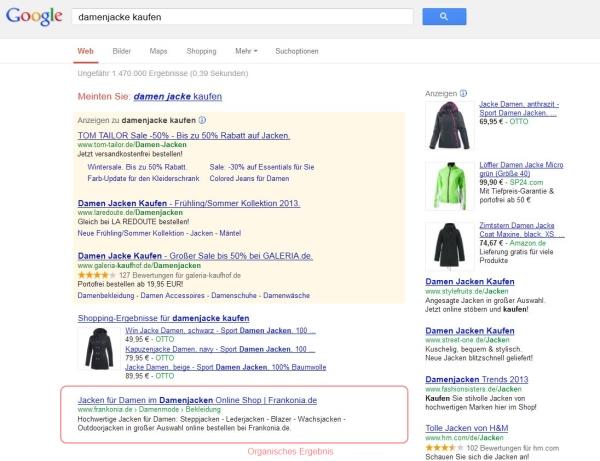 Anzeigen dominieren Ergebnisse transaktionaler Suchen