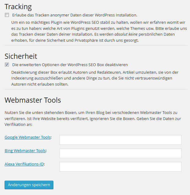 Plugin Dashboard von WordPress SEO