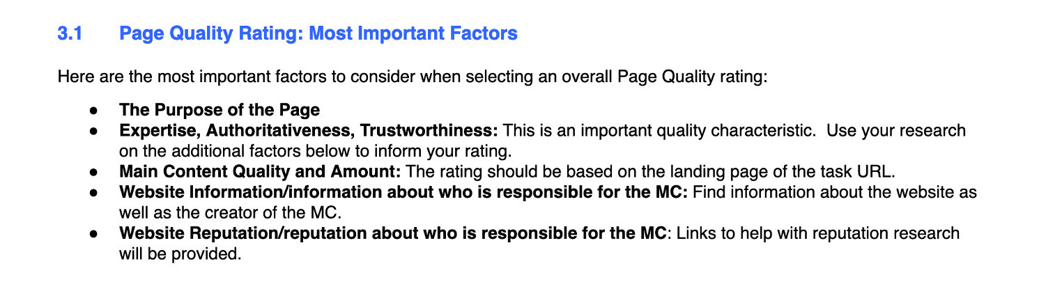 Google Page Quality Most Important Factors