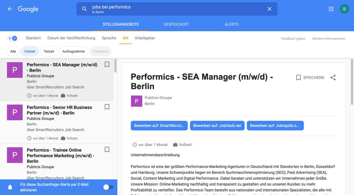 Google for Jobs Art Stelle Filter