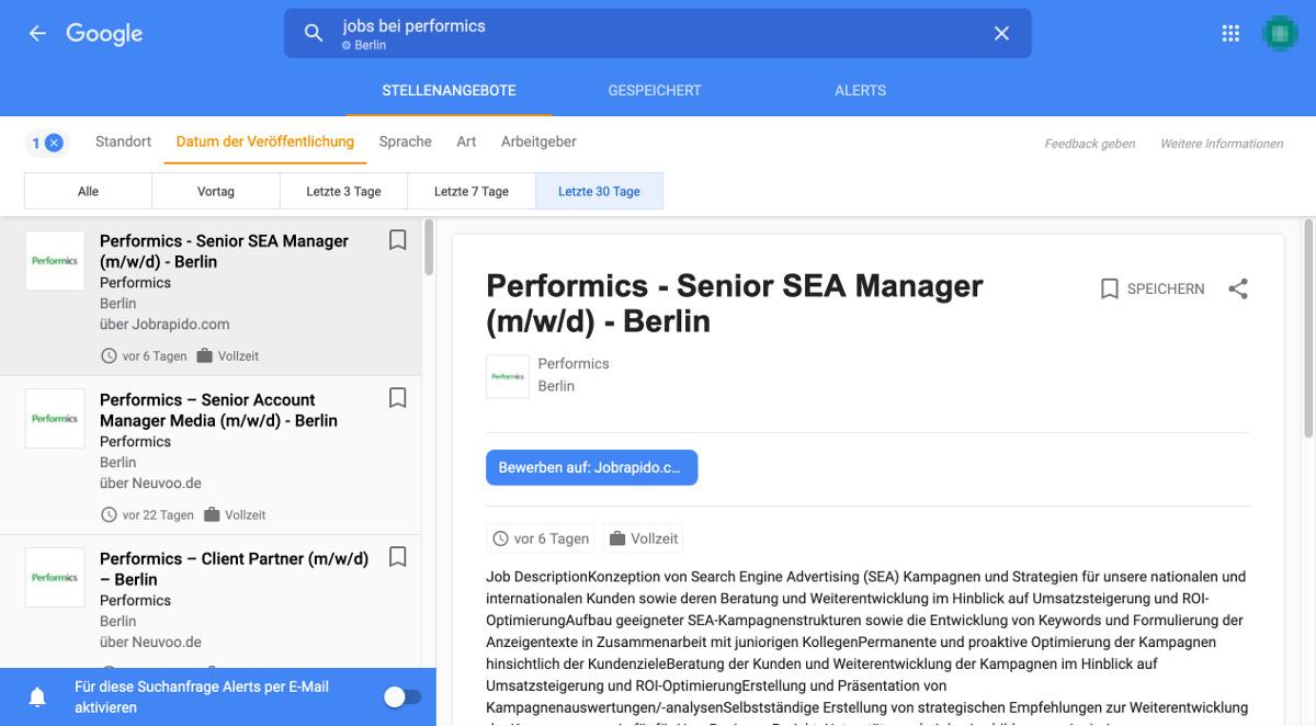 Google for Jobs Datum Veröffentlichung Filter