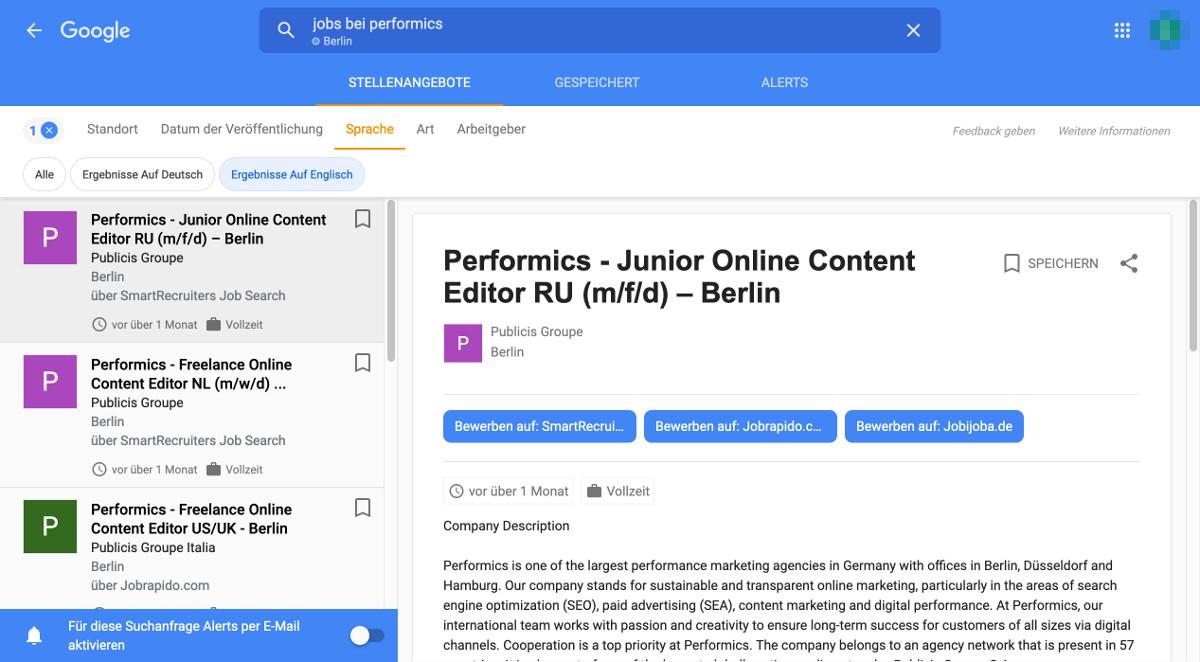 Google for Jobs Sprache Filter