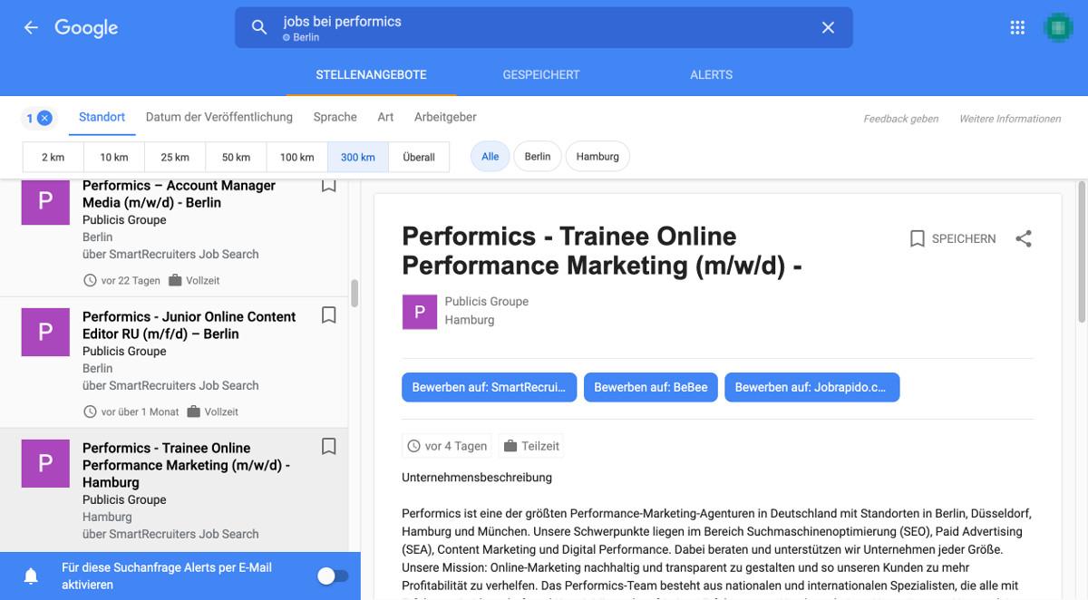 Google for Jobs Standort Filter