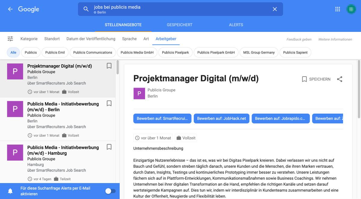 Google for Jobs Arbeitgeber Filter