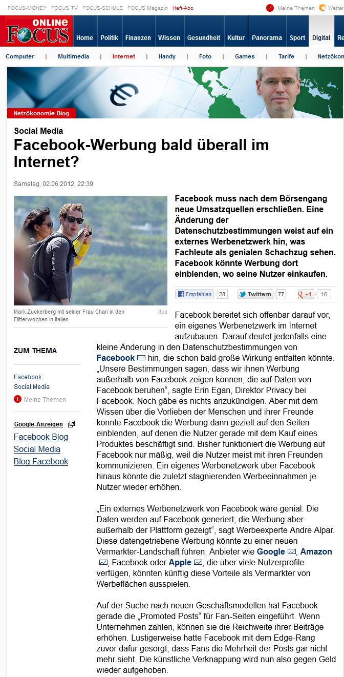 Andre im Focus Online über Facebook Ads